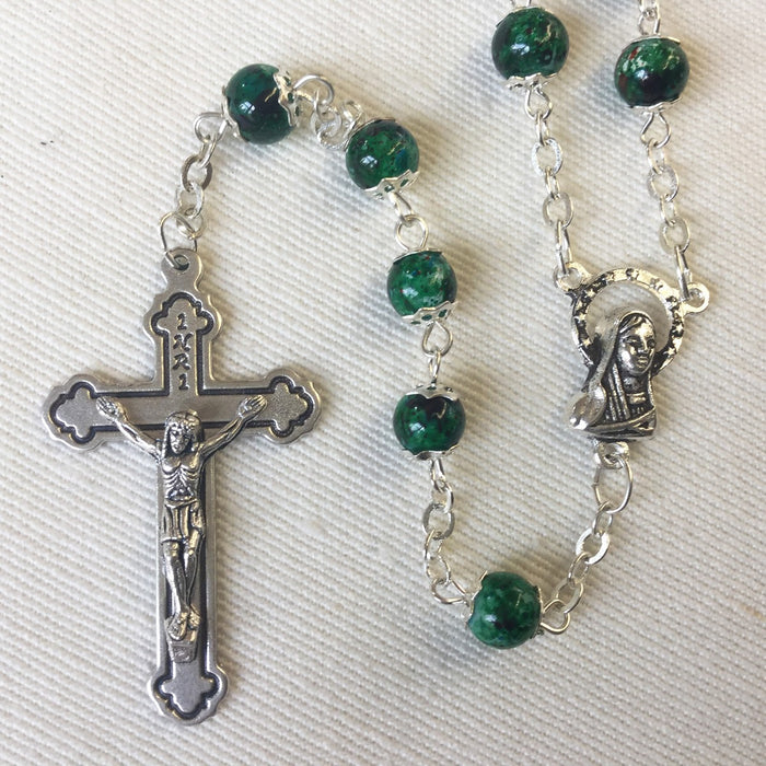 Green Glass Rosary 6mm Beads