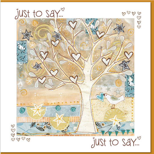 Christian Greetings Card, Just To Say , Tree & Hearts Design With Bible Verse