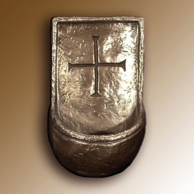 Christian Gifts, Lough Derg, Holy Water Font 14cm High. Hand Cast Bronze Resin From The Wild Goose Studio