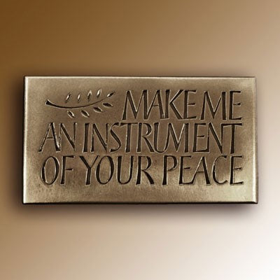 Christian Gifts, Make Me an Instrument of your Peace 15.5 x 8.5cm, Hand Cast Bronze Resin Plaque From The Wild Goose Studio