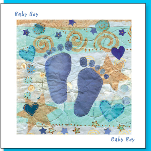 Christian Greetings Cards, New Baby Boy With Bible Verse Inside