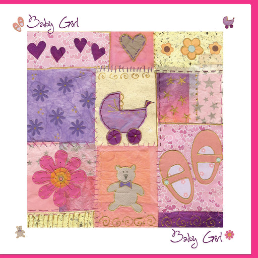 Christian Greetings Cards For New Baby Girl Greetings Card, Purple Heart Design With Bible Verse Inside
