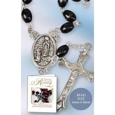 One Decade Rosary Black Wood Beads