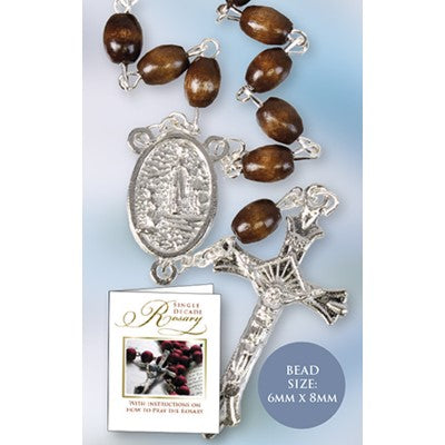 One Decade Rosary Brown Wood Beads