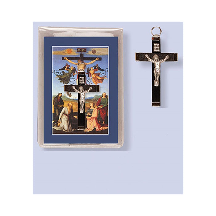 Wood Crucifix 2 Inches High With Prayer Leaflet