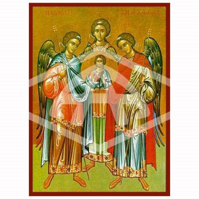 Orthodox Icons Archangels Raphael Michael and Gabriel, Mounted Icon Print