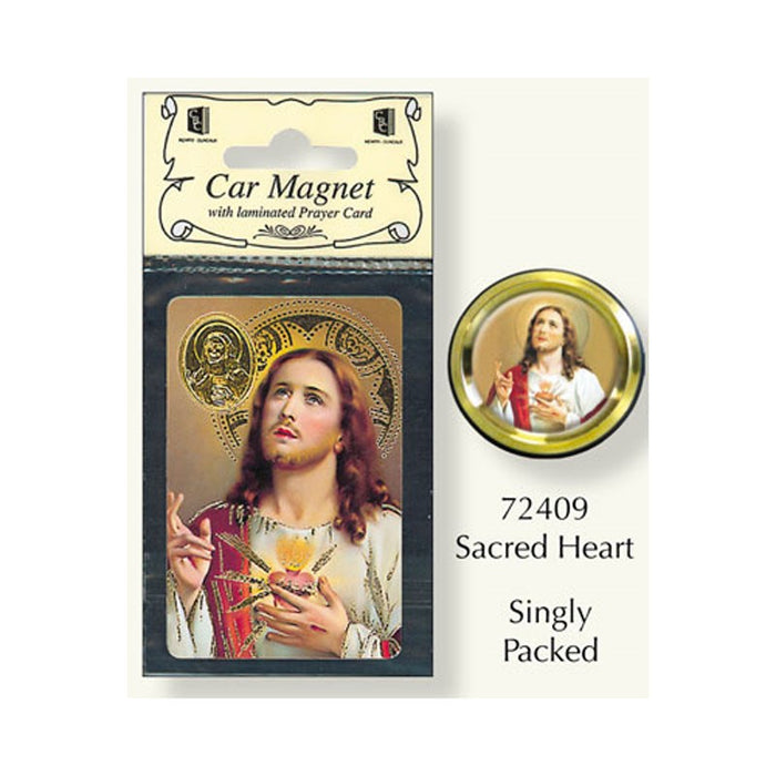 Sacred Heart of Jesus Car Magnet and Prayer Card