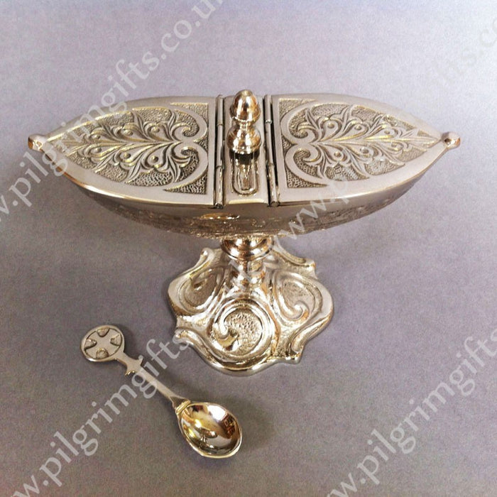 Incense Boat & Spoon Silver Plated