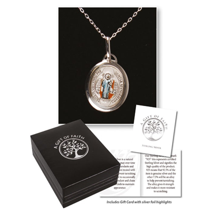 St Benedict Sterling Silver Medal With 18 Inch Chain