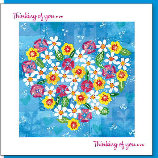 christian Greetings Card, Thinking Of You Greetings Card, Flowers & Heart Design With Bible Verse