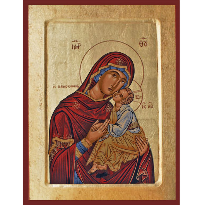 Virgin and Child Handmade Recessed Icon Red, Available In 3 Sizes
