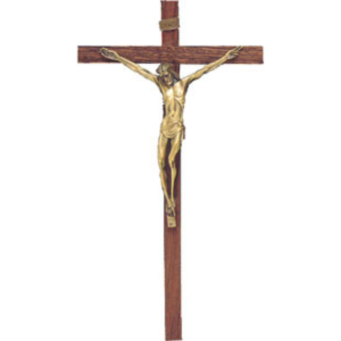 Wooden Crucifix With Gilt Metal Figure 18 Inches High