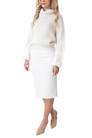 gonna donna vita alta longuette midi bianca coordinato abbigliamento skirt women clothes look outfit white