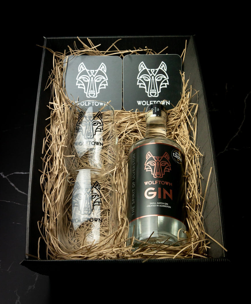 Wolftown 70cl Gin, Glass and Coaster Hamper Tray - Wolftown Distillery