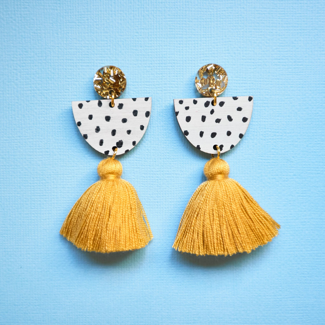 Kathleen Benham - Sophia monochrome tassel earrings - Mustard-Pipp Pop