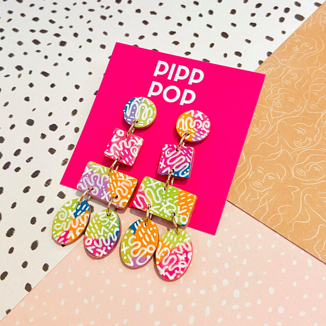 Scribble Statement Dangles-Pipp Pop