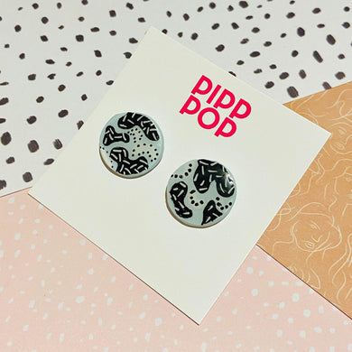 Blue Scribble Statement Studs-Pipp Pop
