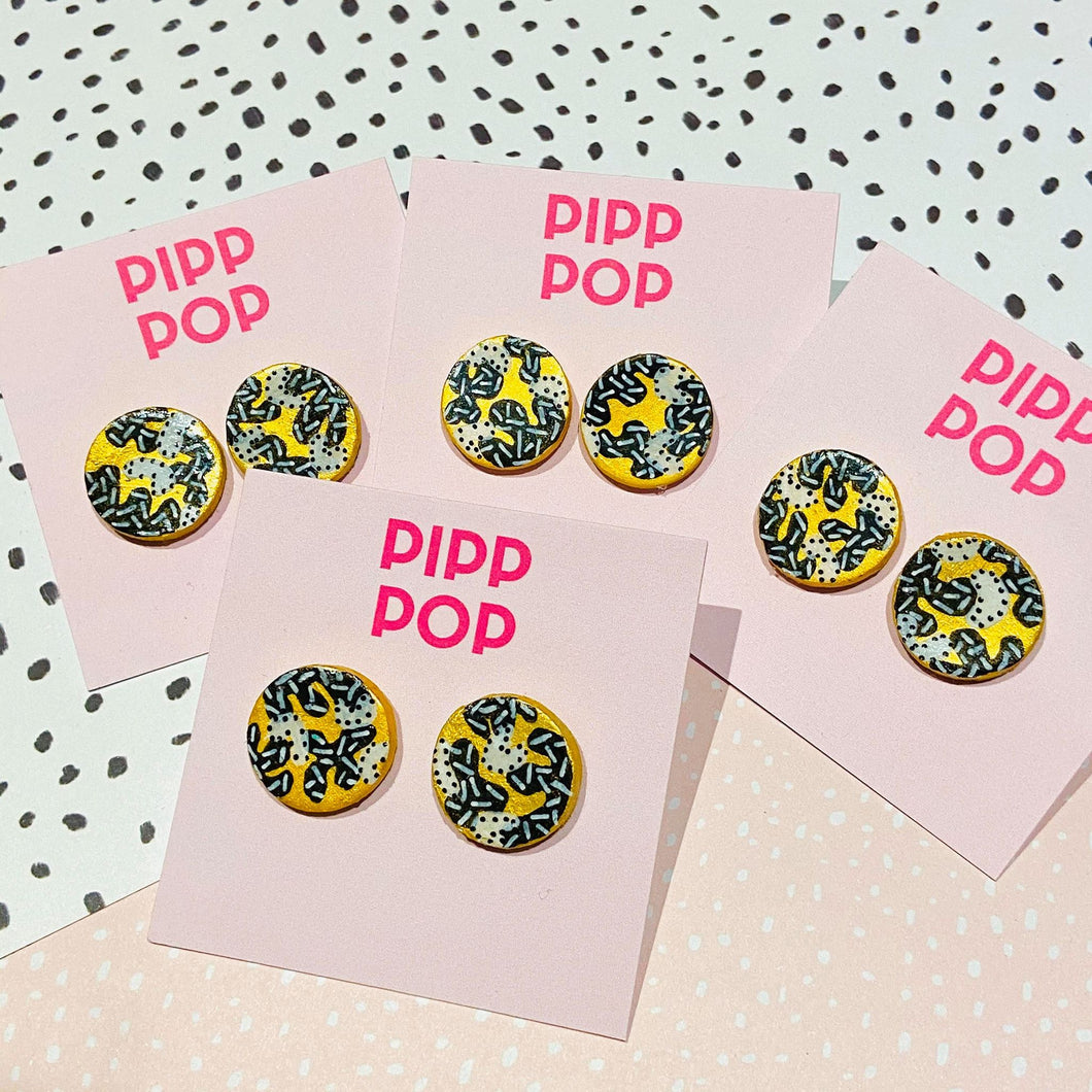 Gold Scribble Statement Studs-Pipp Pop