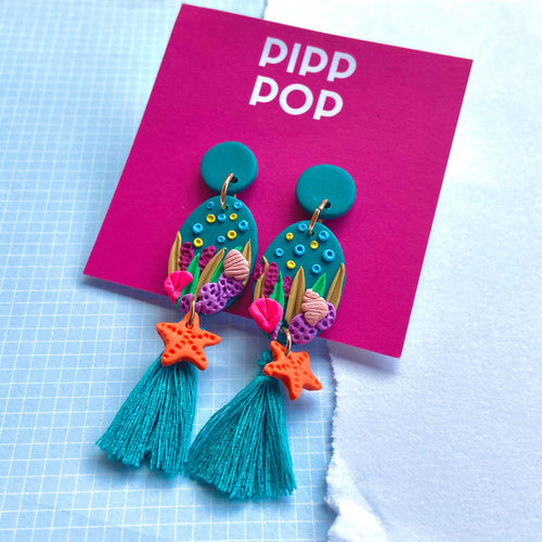 Coral Baskin Tassel Dangles-Pipp Pop