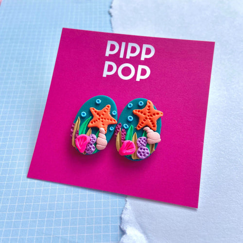 Coral Baskin Studs-Pipp Pop