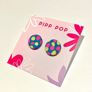 Confetti Studs - Navy, Neon Pink and Pistachio-Pipp Pop