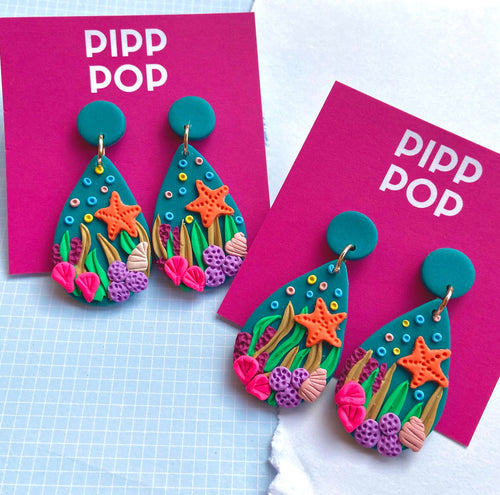 Coral Baskin Dangles-Pipp Pop