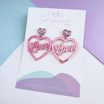 Hello Gorgeous - 'First Love' Heart Statement Dangles - Pink mirror acrylic-Pipp Pop