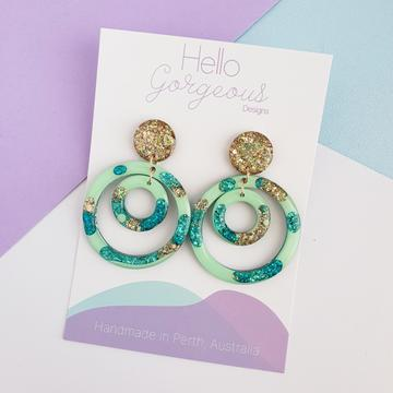 Hello Gorgeous -Halo Double Stud Top Dangles - Bora Bora-Pipp Pop