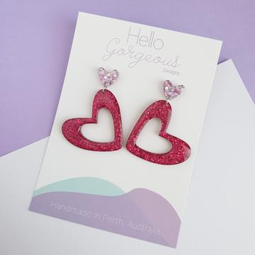 Hello Gorgeous - L'amour Organic Heart Statement Dangles - Pink & Magenta-Pipp Pop