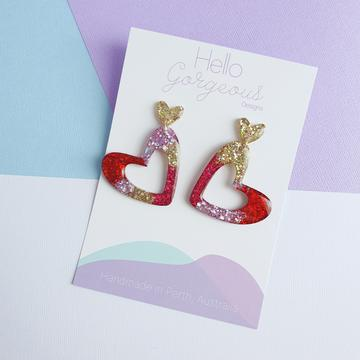 Hello Gorgeous - L'amour Organic Heart Statement Dangles - Red, pink & gold - Gold Stud-Pipp Pop