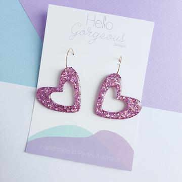 Hello Gorgeous - L'amour Organic Heart Statement Hoop Dangles - Pink-Pipp Pop