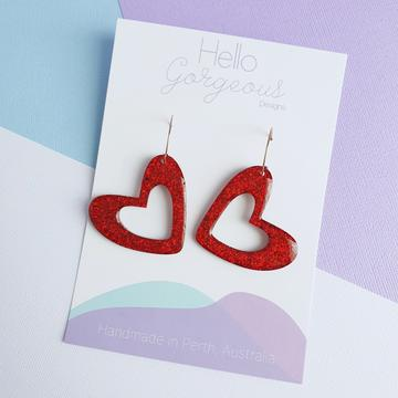 Hello Gorgeous - L'amour Organic Heart Statement Hoop Dangles - Red-Pipp Pop