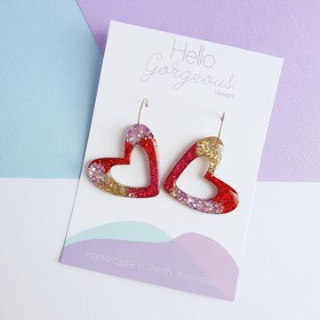 Hello Gorgeous - L'amour Organic Heart Statement Hoop Dangles - Red, pink & gold-Pipp Pop