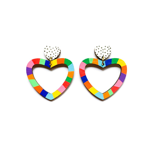 Kathleen Benham - Loopy heart shaped wood dangles Rainbow #1-Pipp Pop