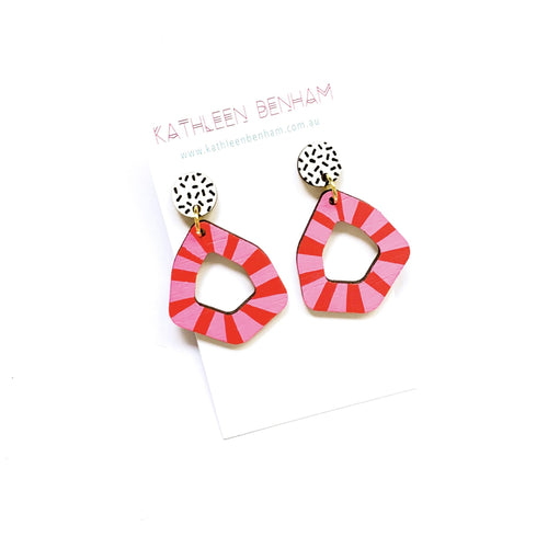 Kathleen Benham - Loopy geo wood earrings - Pink-Pipp Pop