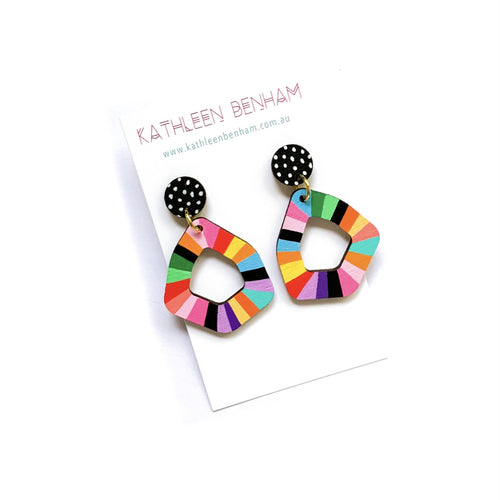 Kathleen Benham - Loopy geo wood earrings - Rainbow #5-Pipp Pop