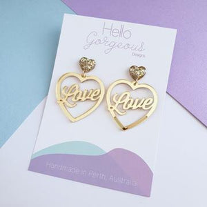 Hello Gorgeous - Love is Golden' Heart Statement Dangles - Gold mirror acrylic-Pipp Pop