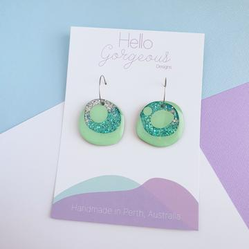Hello Gorgeous - Organic Round Statement Stud Top Dangles - Tahiti Hoop-Pipp Pop