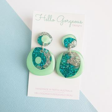 Hello Gorgeous - Organic Round Statement Stud Top Dangles - Tahiti #2-Pipp Pop