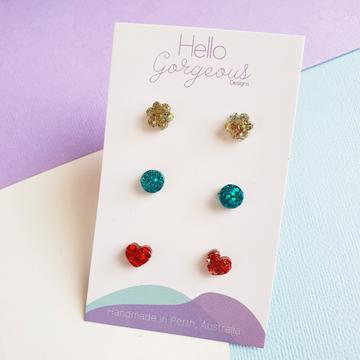 Hello Gorgeous - Petite Triple Resin Studs - Gold Flower-Pipp Pop