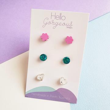 Hello Gorgeous - Petite Triple Resin Studs - Pink Flower-Pipp Pop