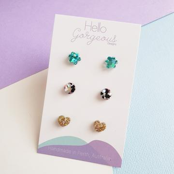 Hello Gorgeous - Petite Triple Resin Studs - Teal Flower-Pipp Pop
