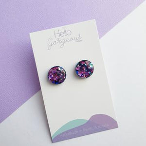 Hello Gorgeous - Zoe Studs - Blue & Pink Chameleon - 15mm-Pipp Pop