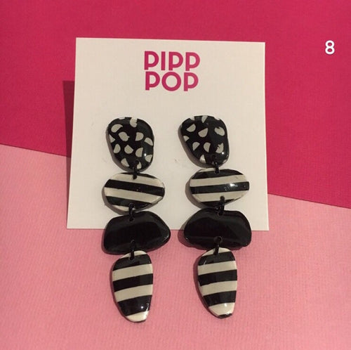 Black and White Pebble Statement Earrings-Pipp Pop
