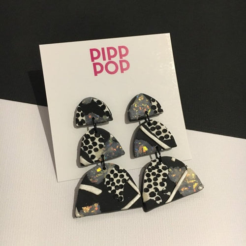 Black and White Statement Earrings-Pipp Pop