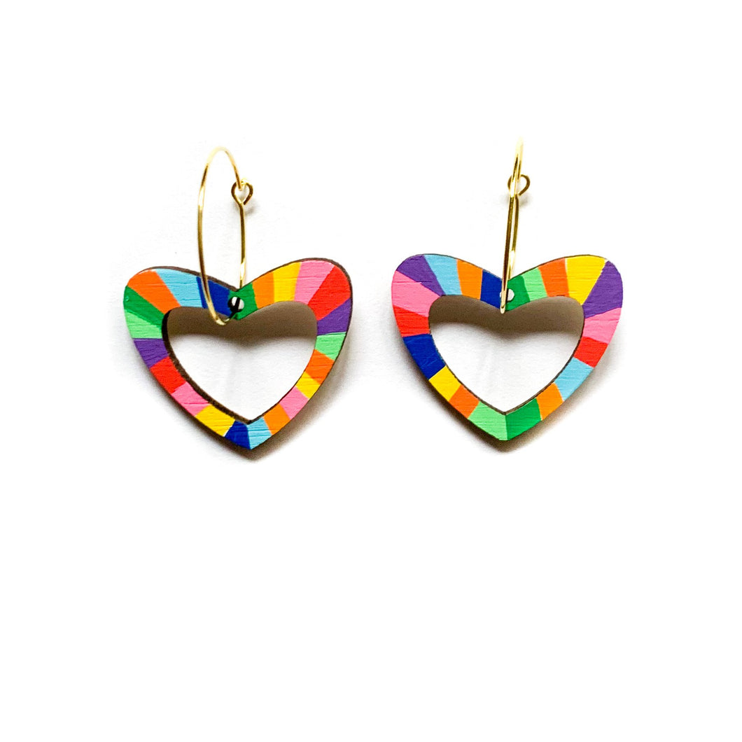 Kathleen Benham - Loopy heart shaped hoop dangles - Rainbow-Pipp Pop