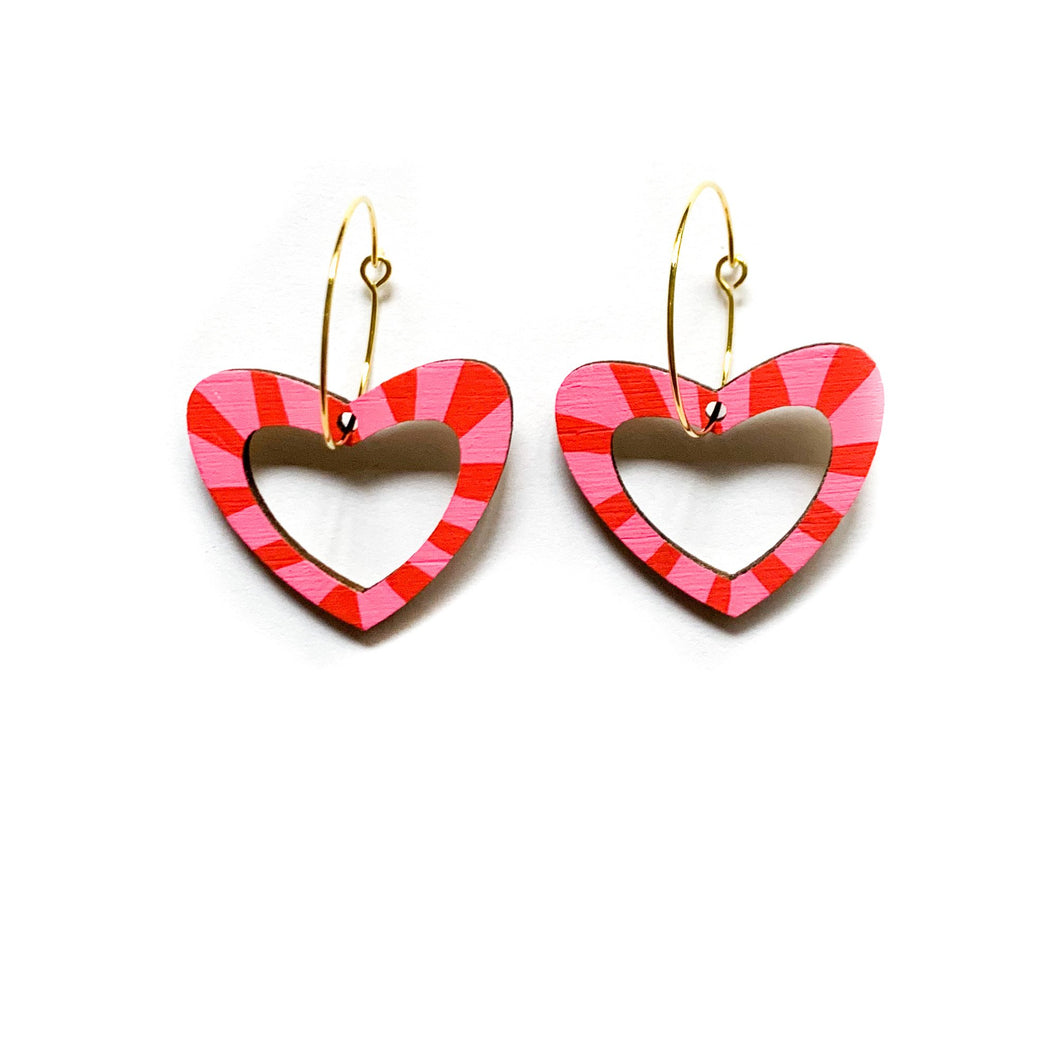 Kathleen Benham - Loopy heart shaped hoop dangles - Pink and red-Pipp Pop