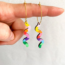 Load image into Gallery viewer, Kathleen Benham - Loopy squiggly wood hoop earrings - Rainbow #2-Pipp Pop