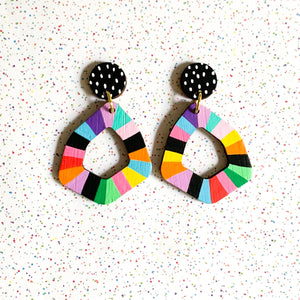 Kathleen Benham - Loopy geo wood earrings - Rainbow #1-Pipp Pop