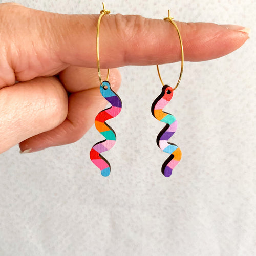 Kathleen Benham - Loopy squiggly wood hoop earrings - Rainbow #1-Pipp Pop